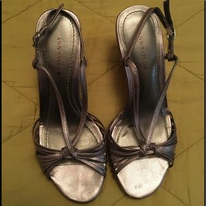 Pewter Silver, strappy dress wedge sandals shoes